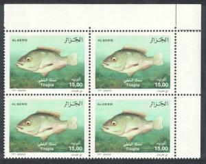 Algeria Nile Tilapia Fish 1v Top Right Corner Block of 4 SG#1569