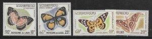 LAOS  101-103, C46       MNH    BUTTERFLY SET 1965