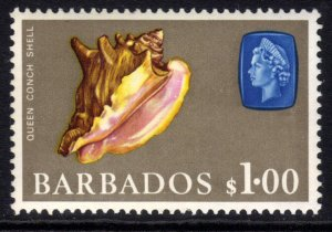 Barbados 1965 QE2 $1 Queen or Pink Conch shell MM SG 334 ( K380 )