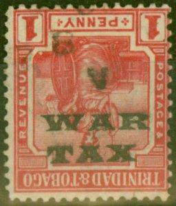 Trinidad & Tobago 1918 1d Scarlet SG186b Opt Inverted Fine Used
