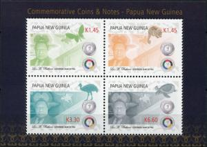 Papua New Guinea. 2016. Commemorative Coins and Notes PNG (MNH OG) M/S