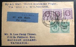 1931 Singapore First Experimental Flight Cover FFC To Hobart Tasmania Alor Star