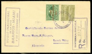 EDW1949SELL : GUATEMALA 1931 Reg Air First Flight cover to Germany nice markings