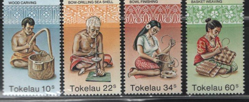 Tokelau  81-84 (4) set, MNH, 1982 Wood carving and making baskets