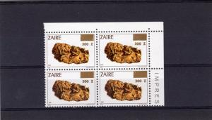 Zaire 1990 Sc#1332 Minerals-Gold ovpt.new value 300Z Block of 4 MNH