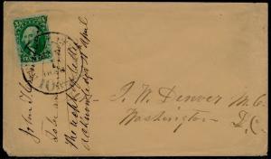 #14 VF STAMP ON 1856 COVER NY TO WASHINGTON,DC NY 10¢ CDS BQ6386