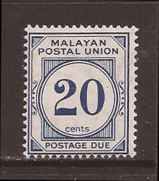 Malaya-Federation scott #J19 m/h stock #17407