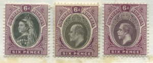 Southern Nigeria QV 6d, KEVII 6d and KGV 6d mint o.g. hinged