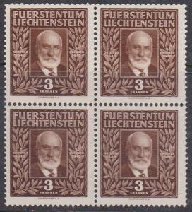 Liechtenstein - 1940 3fr brown Prince Johann Block of 4 mint Sc. 2019 #165 VF-NH