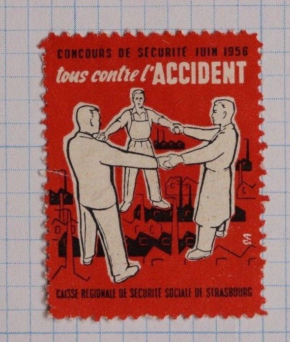 social security accident insurance fund Strasbourg 1956 charity Poster Stamp DL