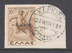 Corfu Sc NC6 used. 1941  10d Air Post Italian Occupation overprint on piece