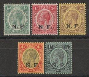 TANGANYIKA 1916 NF overprinted KGV set ½d to 1/-.