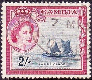 GAMBIA 1953 QEII.2s Indigo & Carmine SG181 Used