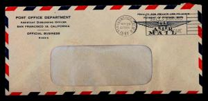US Cover Official Business PO Dept. San Francisco R-402-A Nov 24, 1961 Unlisted.