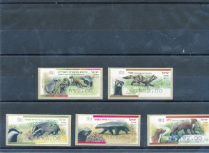 ISRAEL 2014 WEASELS & RELATED SPECIES SET BASIC RATE ATM LABELS MACHINE 1 MNH