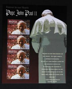 STAMP SAINT VINCENT BEQUIA Sc# 360 MNH  Sheetlet 4 Pope John Paul II