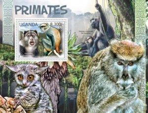 Uganda MNH S/S Primates Wild Animals 2012