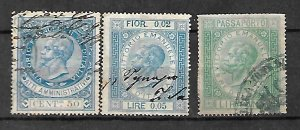 KINGDOM ITALY FISCAL REVENUE TAX 3 STAMPS c1866, KING VEII