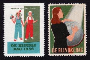 REKLAMEMARKE SWEDEN CHARITY POSTER STAMPS ⭐ DE BLINDAS DAG ⭐ FOR THE BLIND 1956
