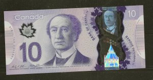 Canada Issued 2013 Circulated $10.00 Polymer Banknote FTR7600763 FP 26 BP 26