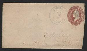 United States USED Scott Number U282 ENTIRE 1887 KANSAS TO INDIANA  - BARNEYS