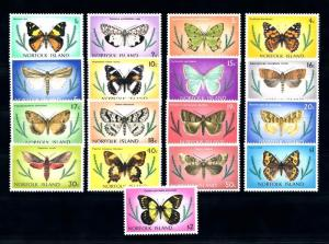 [70409] Norfolk Island 1976 Insects Butterflies 17 Values MNH