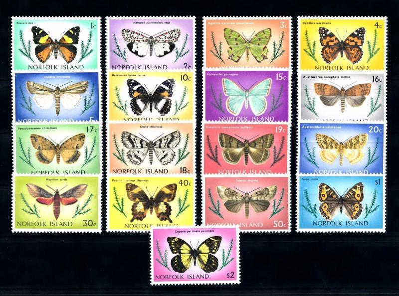 [70409] Norfolk Island 1976 Insects Buterflies 17 Values MNH
