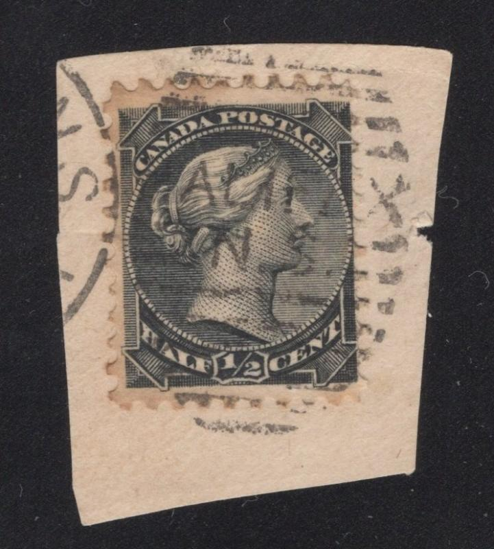 Canada #21 Black - 1/2 Cent - With Halifax, N.S. Cancel on Piece.