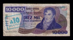 Argentina banknote 10.000 Diez Mil Pesos 1985 | No.24210.592C | Circulated | VF