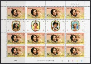 Belize 1995 Sc#757/760 QUEEN MOTHER 85th/Diana 4 Mini-Sheetlets Unfolded MNH