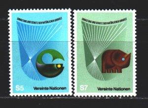 UN Vienna. 1982. 27-28. Environmental protection, elephant, fish. MNH.