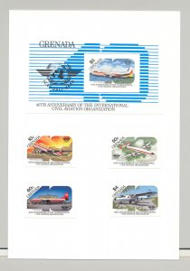 Grenada #1270-1274 Aviation, ICAO, UN 4v & 1v S/S Imperf Proofs on Card