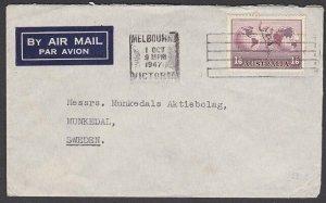AUSTRALIA 1957 1/6d Hermes signel franking airmail cover to Sweden..........P312