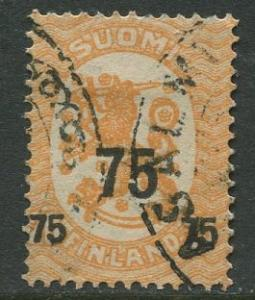 Finland - Scott 122 - Arms of Republic Overprint -1919- Used - Single 75p Stamp