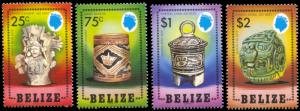 Belize 741-744, MNH, Mayan Artifacts