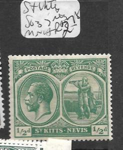 ST KITTS NEVIS  (P0202B) KGV 1/2D COLUMBUS SG 37  MNH