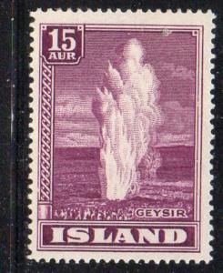 Iceland Sc 203 1938 15 aur Geyser stamp mint