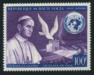 Burkina Faso C33,MNH.Michel 207. Pope Paul VI in UN,Peace dove,1966.