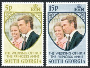 South Georgia 37-38, MNH. Royal wedding: Princess Anne, Mark Phillips, 1973