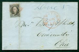 1847, 5¢ black brown tied by red diamond grid cancel to OHIO, NY side cancels