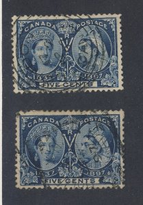 2x Canada Queen Victoria Jubilee Stamps #54-5c SON #54-SC Guide Value = $80.00