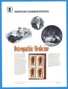 USPS COMMEMORATIVE PANEL #3 OSTEOPATHIC MEDICINE #1469