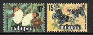 MALAYSIA SG144/5 1976 BUTTERFLIES COIL STAMPS  MNH