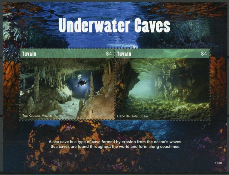 Tuvalu Tourism Stamps 2017 MNH Underwater Caves Tux Kubaxa Diving 2v S/S