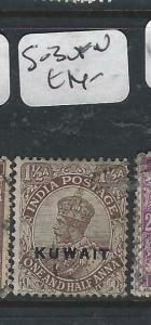 KUWAIT   (PP2704B) ON  INDIA KGV 1 1/2A  SG 3     VFU