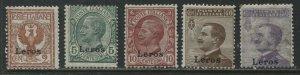 Italy overprinted Leros 1912 various values mint o.g. hinged
