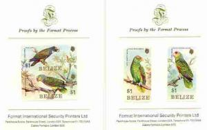 Belize 1984 Parrots set of 4 imperf proofs mounted on two...