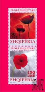 ALBANIA 2008 Nature Flora Plants Flowers Poppy 2v se-tenant Sc2859 MNH