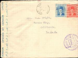 EGYPT 1940's MULTI STAMP TO UNITED STATES + CENSOR TAPE