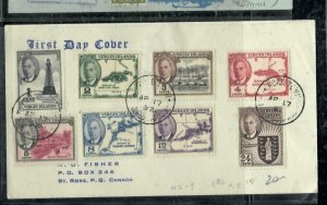 VIRGIN ISLANDS COVER (P0407B)  1952 KGVI 1C-24 FDC SENT TO CANADA